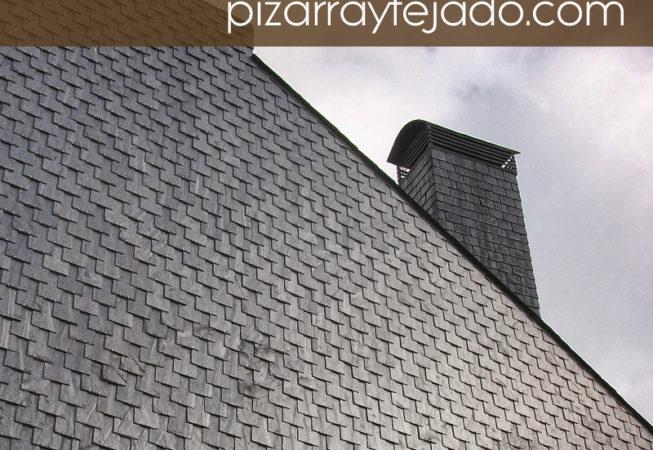 Foto de pizarra para revestimiento de pared. Detalle de chimenea revestida.