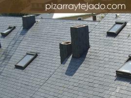 Foto de pizarra para cubierta en vivienda. Origen de la pizarra natural León.