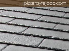 Foto de tejado de pizarra natural formato rectangular.
