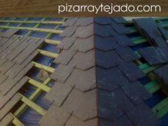 Detalle ejecución de limatesa con pizarra natural de León. Obra de cubierta de 500 m2 en Europa.