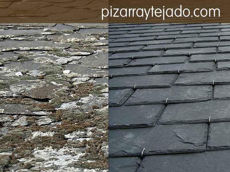 Limpieza de musgo en tejados y cubiertas de pizarra natural y tratamiento anti musgo.
