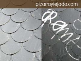 Pizarra con tratamiento antigraffiti manteniendo el color y textura de la pizarra natural.