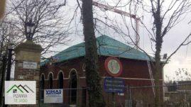 Rastrelado para colocación de pizarra de León en vivienda de 500 m2 en Bélgica.