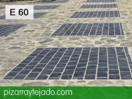 E60 pizarra para suelos exteriores. Pizarra trabajada y pizarra irregular.