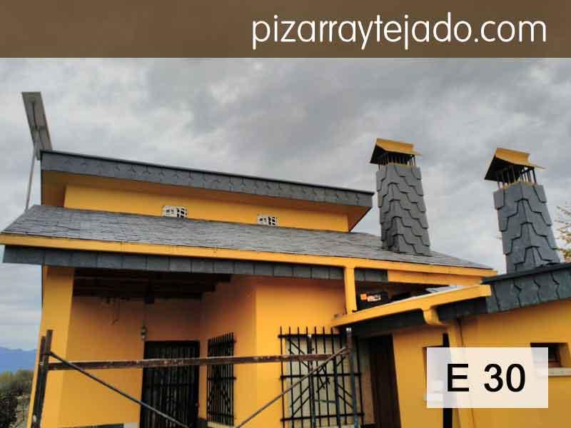 Tejado nuevo de pizarra E30 formato rectangular 32 x 22 cm. Pizarra de León. Expertos pizarristas de León para colocación de pizarra natural en tejado.