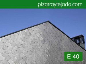 Pizarra para fachadas. Formato: pizarra redonda. Calidad: E40. Pizarra de León.