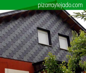 Col·locació de façanes de pissarra. Fachadas de pizarra natural. Pizarra Lleida. Teulada de pissarra. Pissarra per cobertes, teulades i façanes.