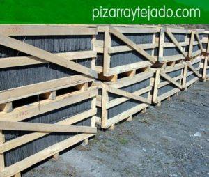 Pissarra teulada. Pizarra tejados. Pizarra Girona. Pallets de pissarra natural per cobertes i teulades. Pissarra per aplacat i solado: interior i exterior.
