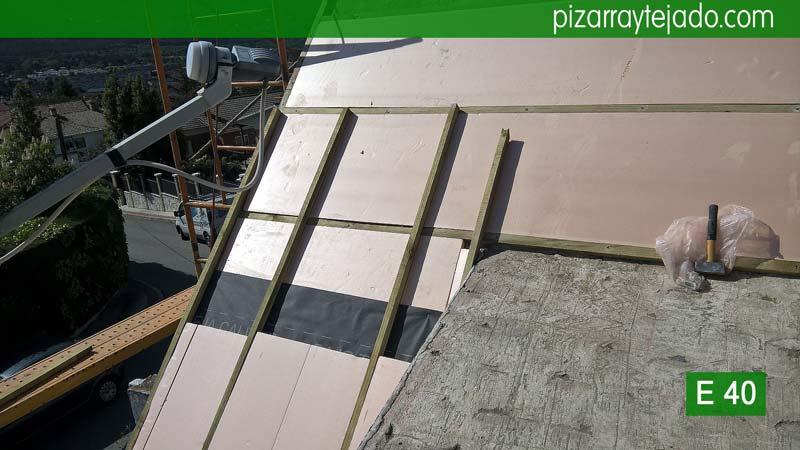 Colocaci n de doble rastrel pizarra para tejados - Tejado de pizarra ...