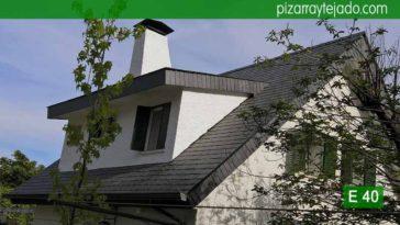 Detalle de remates de pizarra en tejado de pizarra en la Sierra de Madrid (Cerceda, Moralzarzal). Pizarra E40 Alta Montaña. Pizarra del Bierzo (León).