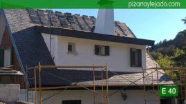 Labores de colocación de pizarra tejado de pizarra natural en Madrid. Pizarra E40 Alta Montaña. Cerceda (Moralzarzal).