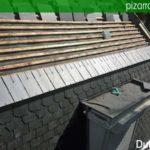 Colocación de detalle de pizarra en tejado en Flandes. Tejado pizarra detalle.