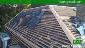 Colocación de pizarra natural E16 Dutch Special. Holland leien dak. Cubierta de pizarra E16 Dutch Special. Leien dak plaatsen België.