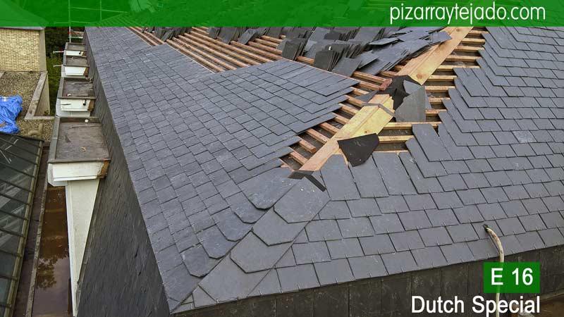 Descripción del montaje de pizarra de cubierta en Flandes.