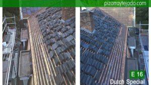 Pizarra E16 Dutch Special para cubiertas en Bégica y Holanda. België leien dak. Retirada de teja y rastrelado de tejado y fachada para colocación de pizarra