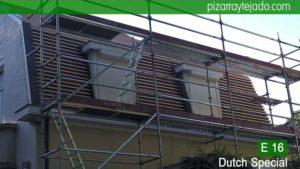 Rastrel de madera tratada para colocación de pizarra en tejado y fachada. Leien dak Holland. Colocación de pizarra natural E16 Dutch Special. Leien dak plaatsen België.