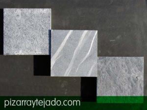 Diferentes tratamientos superficiales de la placa de pizarra superficial. Superficie pizarra.