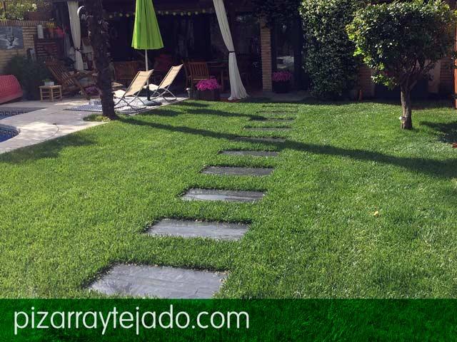 Paso japon s de pizarra para jard n y exterior resistente - Suelos jardin exterior ...