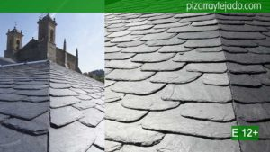 Detalle de arista francesa pizarra granel redondeada. Colocación de pizarra en tejados y cubiertas.