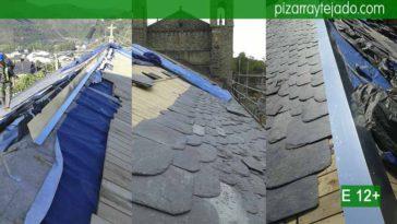 Obras de tejados de pizarra. Estructuras de madera y colocación de cubiertas de pizarra.