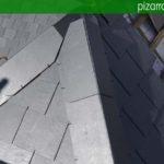 Detalle de remate de aristas de pizarra natural con protección en aluminio. Tejado Villalba.
