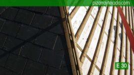 Detalles de ejecución de cubierta de pizarra calidad exportación para Madrid. Pizarra Escorial.