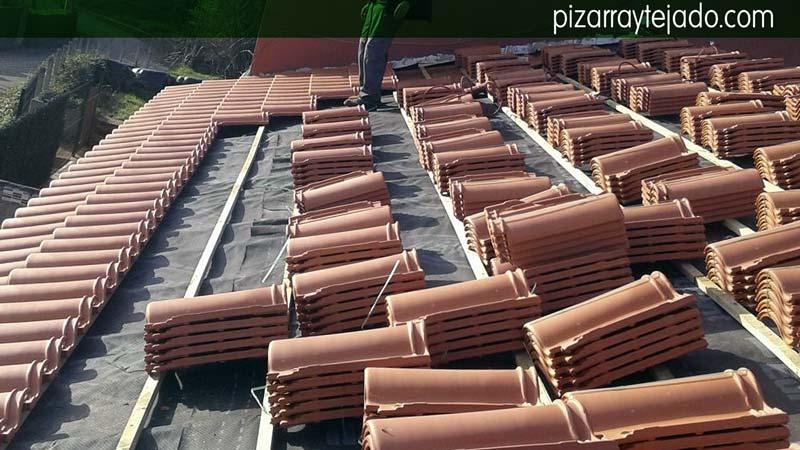 tejas mixtas sobre doble rastrel de madera tratada y membrana