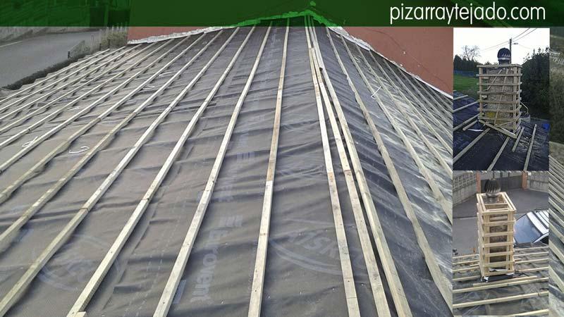 Colocación membrana impermeable entre rastreles verticales (ocultos) y horizontales (vistos). Aplomado y refuerzo de chimenea para forrarla de pizarra.