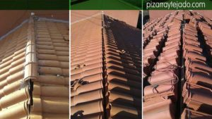 Cumbrera de teja mixta en tejado de teja cerámica. Tejados Asturias.