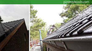 Detalle de remates de tejado en Turnhout Bélgica. Teja negra vitrificada.