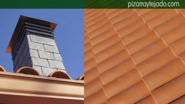 Preciosa chimenea de pizarra en tejado de teja mixta cerámica. Tejado Asturias.