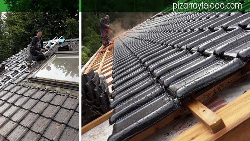 precioso tejado de teja negra vitrificada en b lgica