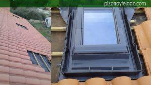 Tejado de teja y colocación de Velux especial para teja mixta. Colocación de Velux Asturias.
