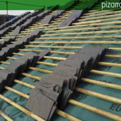 Precio rastreles para pizarra. Colocación de rastrel de madera en tejado de pizarra.