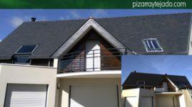 Limpiar pizarra oxidada de tejado.