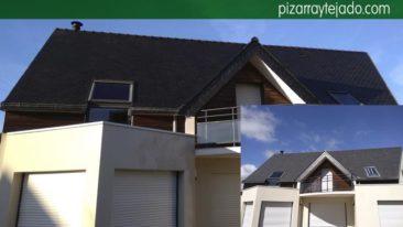 Limpieza de tejados oxidados de pizarra.